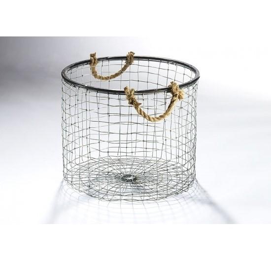 Howard-Drahtkorb-rund-hoch-aus-Metalldraht-mit-Seilgriffen