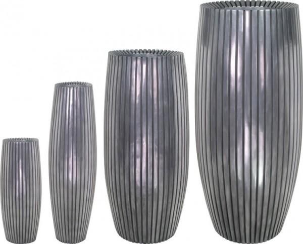Lines Fiberglas Pflanzvase - Aluminium
