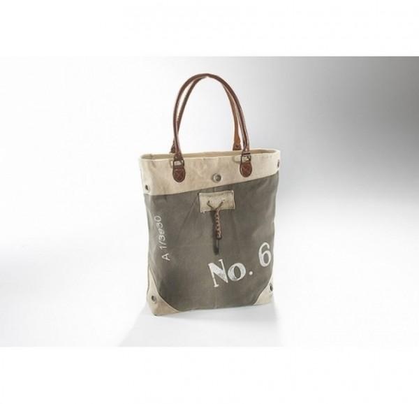 No. 6 - Canvas Vintage Tasche mit Lederhenkel