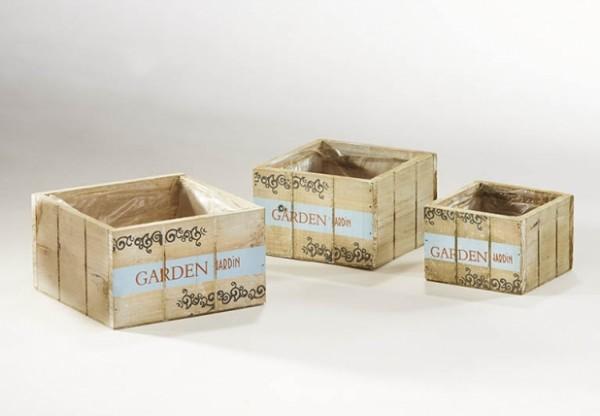 Holzschale eckig zum Bepfllanzen 3er Set weiß zum Bepflanzen - Garden Jardin