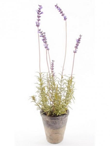 Lavendel 43 cm | Kunstpflanze im Antiktopf