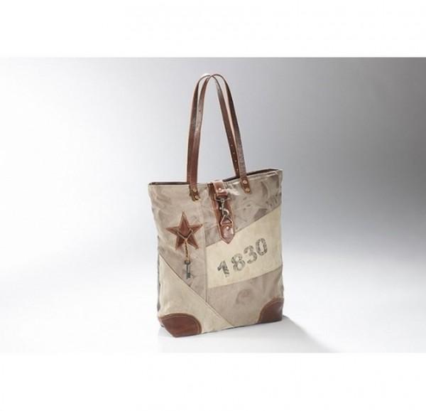 1830 - Canvas Vintage Tasche mit Lederhenkel