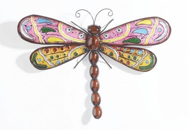 Libelle aus Metall und Glas | Wanddekoration