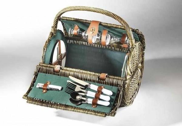 Picknickkorb London für 2 Personen - braune Weide