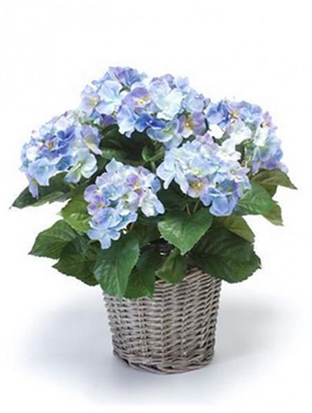 Hortensia blau 20 cm | Kunstpflanze im Körbchen