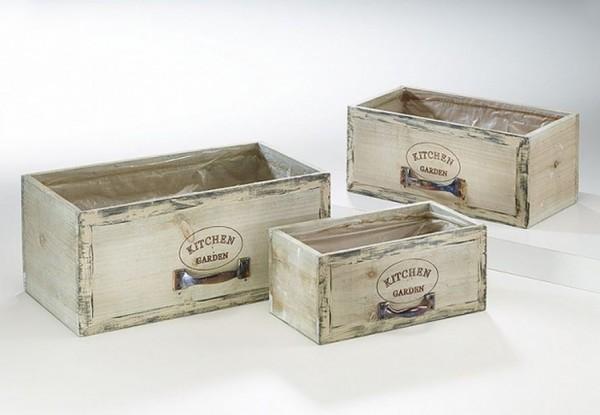 Schublade zum Beplfanzen Holz 3er Set - Kitchen Garden