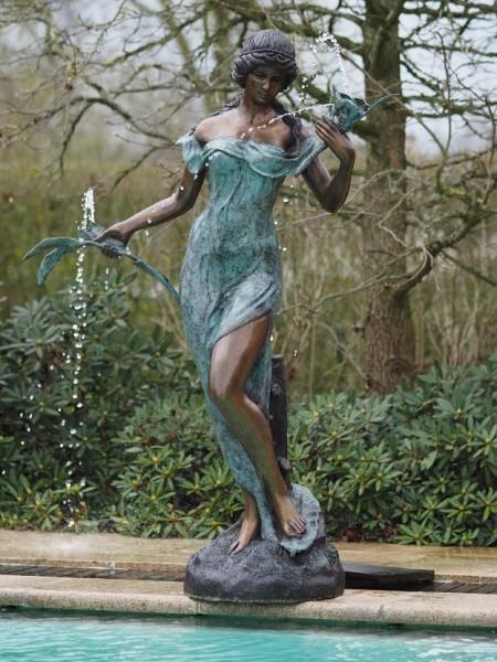 Bronze Fountaine Fiori | Frau mit Blumen