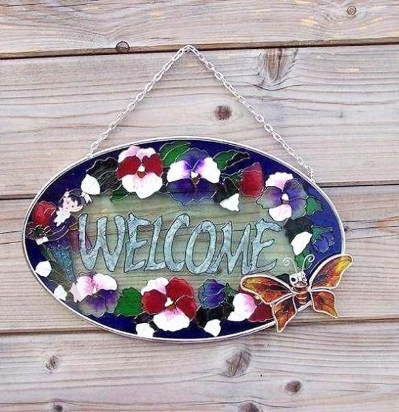 Glasfenster-Wandhaenger-Blume-Biene-Tiffany-Glas