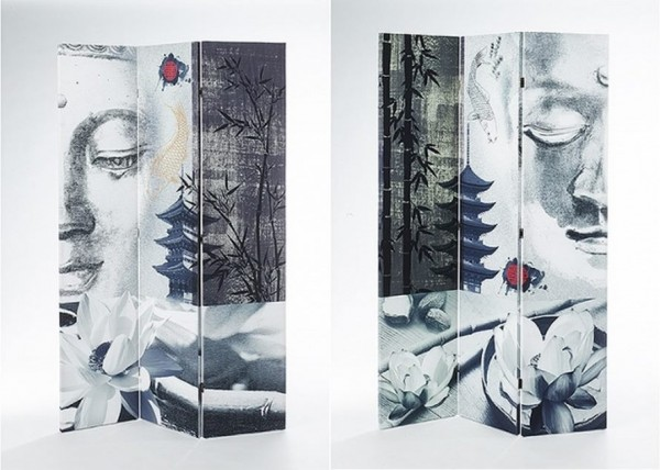 Buddha Canvas Paravent 3-tlg mit Holzrahmen