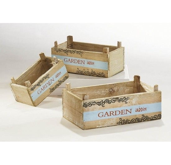 Holzkiste zum Bepflanzen 3er Set weiß zum Bepflanzen - Garden Jardin
