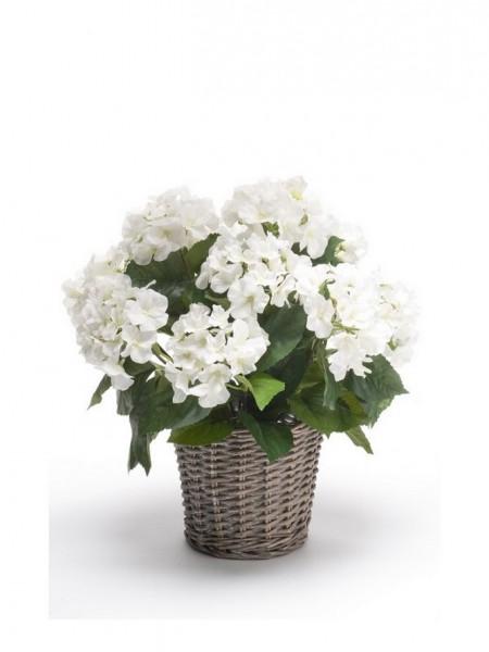 Hortensien Kunstblumenbusch weiß im Korb 45 cm
