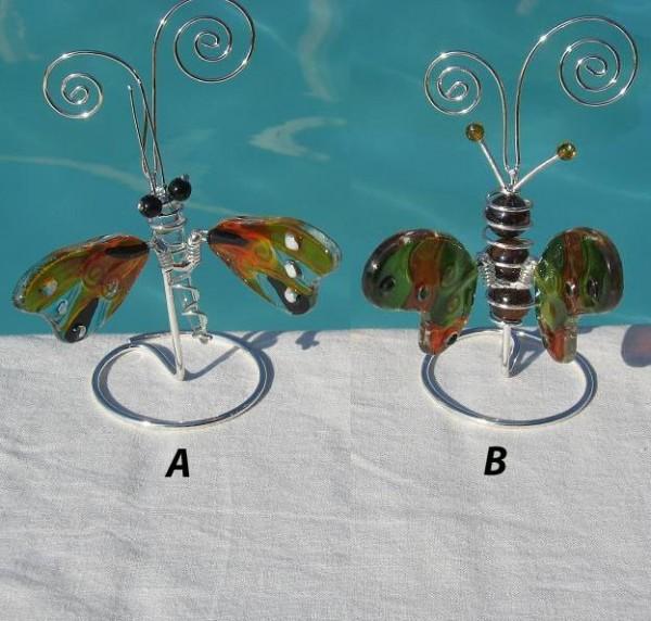 Schmetterling-Visitenkartenhalter-Figur-Tiffany-Glas