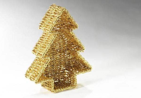Baumschale goldfarben Foliengeflecht | Weihnachtsdekoration