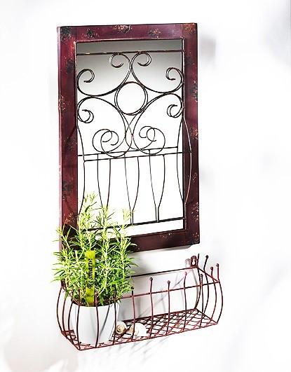 Dekorationsspiegel-Rosella-für Pflanzen-aus-Metall-und-Holz