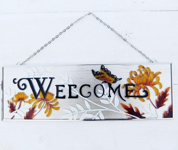 Glasfenster-Wandhaenger-Blume-Schmetterling-Tiffany-Glas