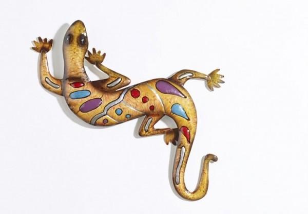 Gecko   Bunte Metall Wanddeko