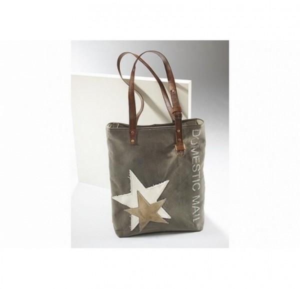 Twin Star - Canvas Vintage Tasche mit Lederhenkel