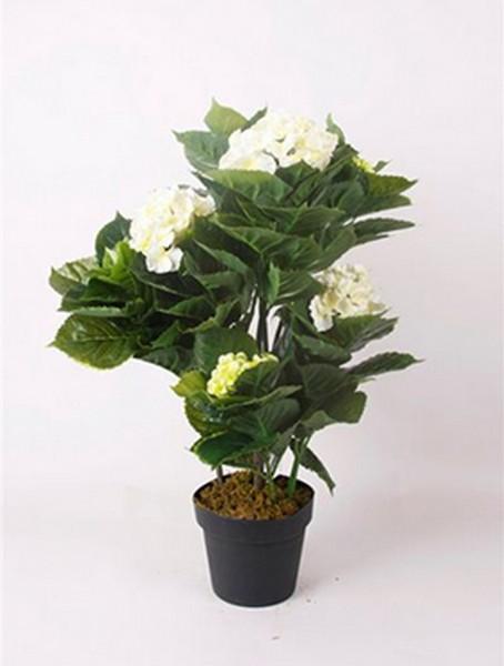 Hydrangea weiß 75 cm | Hortensie Kunstpflanze im Topf 75 cm