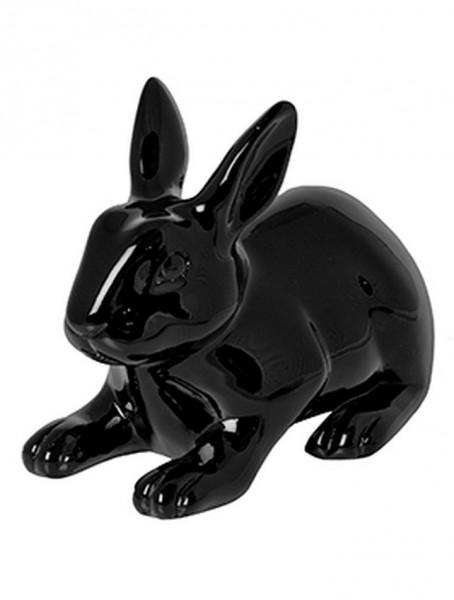 Hase Roger schwarz  | Rabbit ein Kunstobjekt aus Fiberglas und Steinpulver
