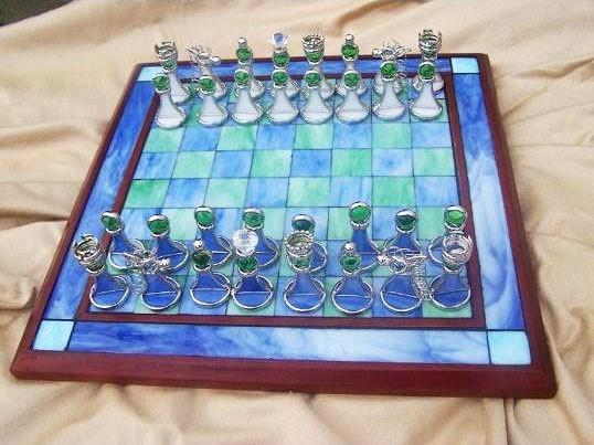 Schachbrett-Tiffany-Glas