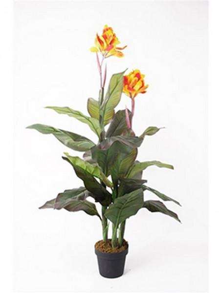 Canna gelb 120 cm   Blumenrohr Kunstpflanze im Topf