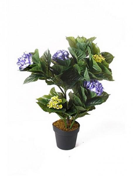 Hydrangea blau 75 cm | Hortensie Kunstpflanze im Topf 75 cm
