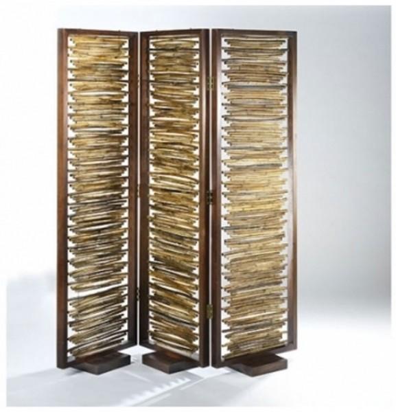 Paravent 3-tlg. aus Bambus mit Holzrahmen