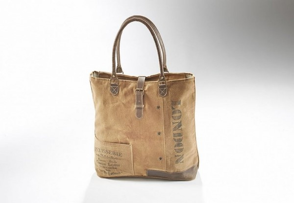 London - Canvas Vintage Tasche mit Lederhenkel