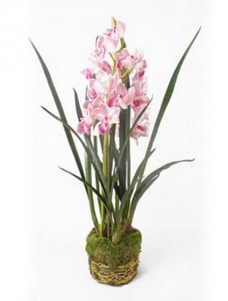 Cymbidium pink 100 cm | Orchideen Kunstpflanze mit Moos