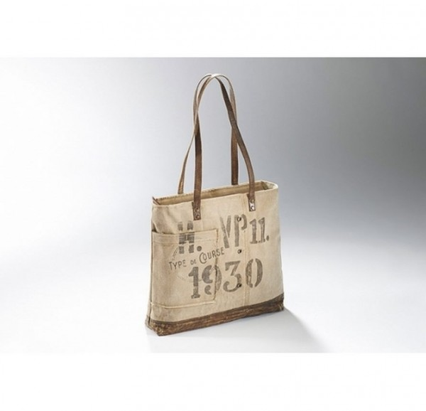 1930 - Canvas Vintage Tasche mit Lederhenkel