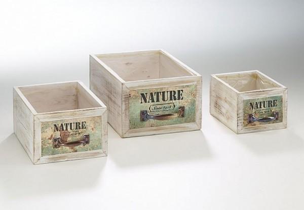 Schublade zum Beplfanzen Holz 3er Set - Nature