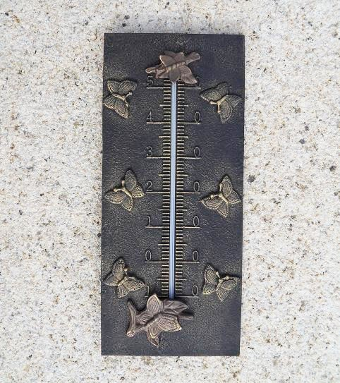 Bronze-Analog-Thermometer-Schmetterling-Motiv