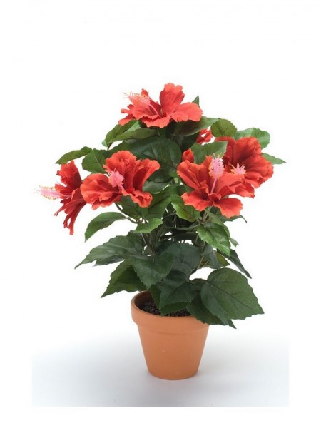 Hibiskus Kunstblumenbusch rot im Tontopf
