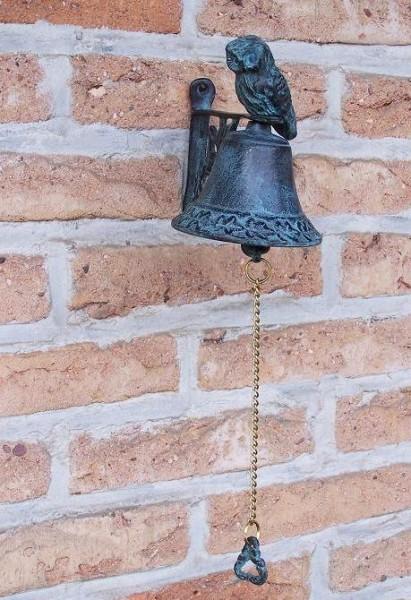 Bronze Glocke mit Eulenfigur