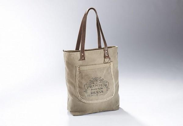 Premium Beans - Canvas Vintage Tasche mit Lederhenkel