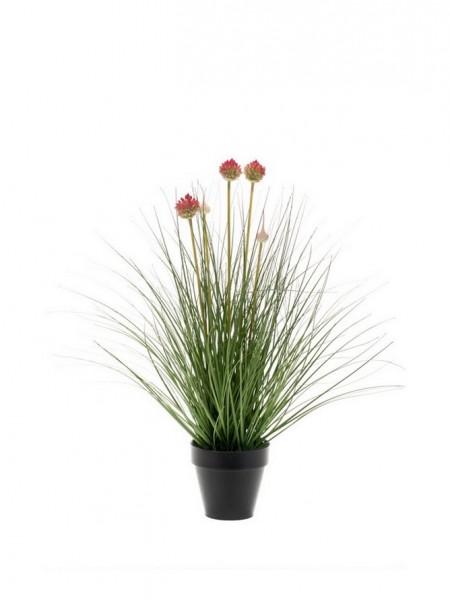 Allium Blumen grün-weiß Kunstgras 53cm im Zinktopf
