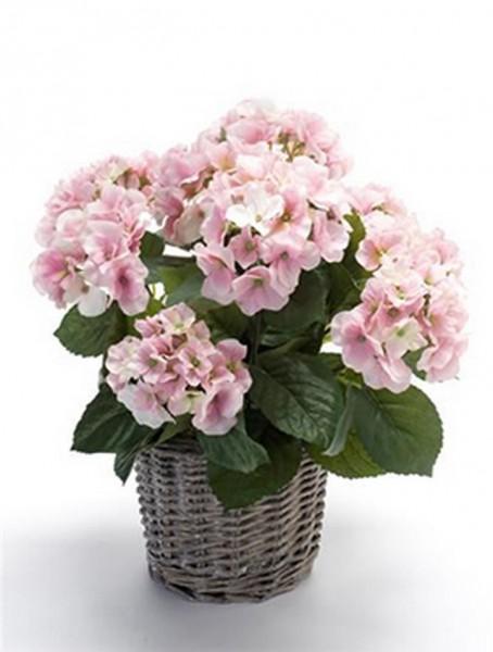 Hortensia rosa 20 cm | Kunstpflanze im Körbchen
