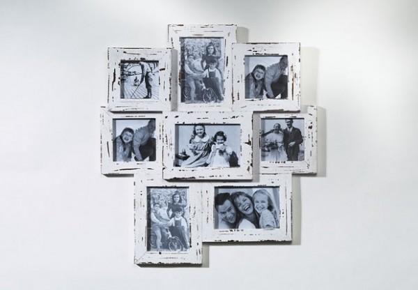 Bilderrahmen-Collage 8 | shabby-white Holz