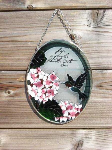 Glasfenster-Wandhaenger-Blume-Vogel-Tiffany-Glas