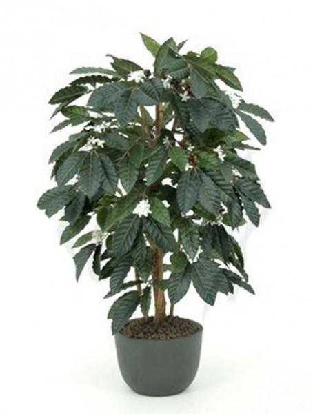 Coffea arabica 120cm Kaffeestrauch Kunstpflanze Blühend