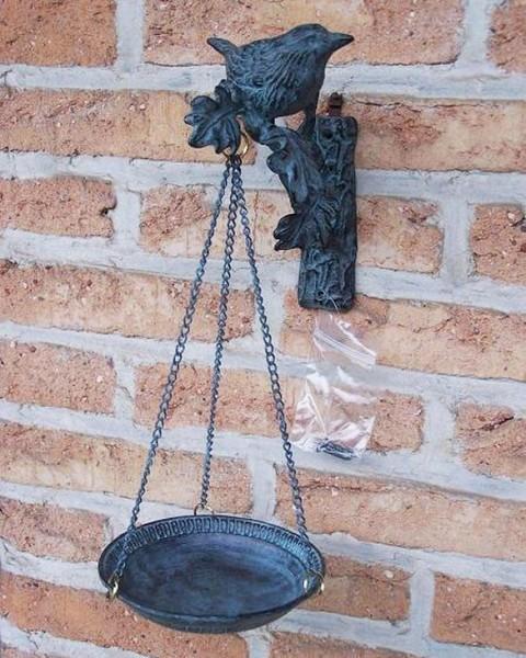 Vogeltränke - Vogelfutterschale aus Bronze   Wanddeko