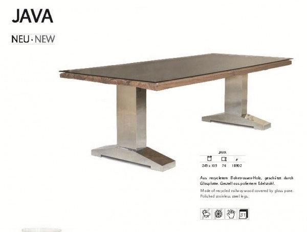 Java Tisch | Bahntrassen-Holz und poliertem Edelstahlgestell.