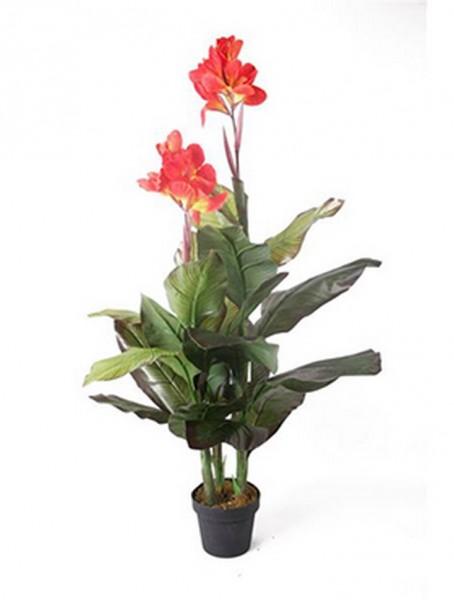 Canna orange 120 cm | Blumenrohr Kunstpflanze im Topf
