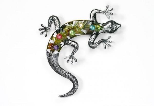 Gecko Eidechse aus Metall mit Acryl Perlen