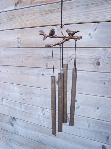 Windspiel aus Bronze | Zwei Vögel auf Zweig